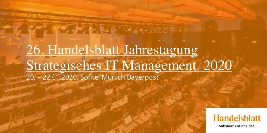 """Clausmark as exhibitor at the 26th Handelsblatt annual conference """"Strategic IT Management 2020"""""""