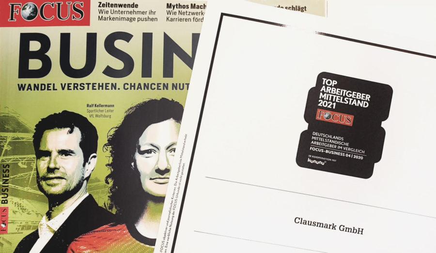 "FOCUS-Business wählt Clausmark zu den ""Top-Arbeitgebern Mittelstand 2021"""